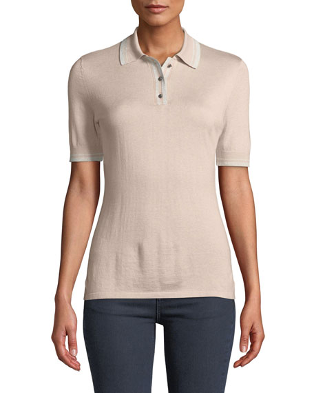 Neiman Marcus Cashmere Collection Superfine Cashmere Short-Sleeve