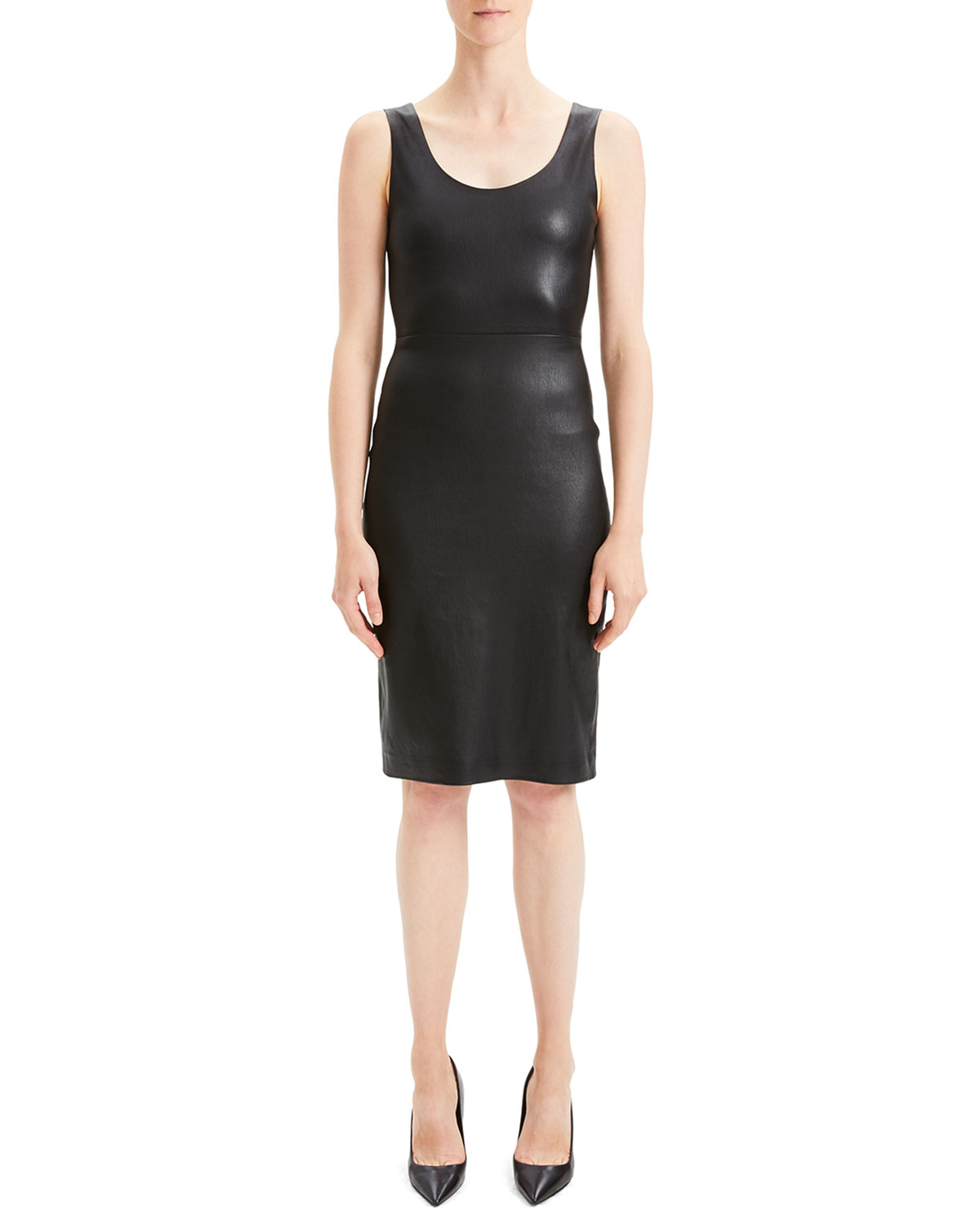 203fafbe986 Theory Fitted Scoop-Neck Leather Cocktail Dress