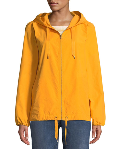Eileen Fisher Plus Size Hooded Zip-Front Long-Sleeve Cotton-Blend Jacket