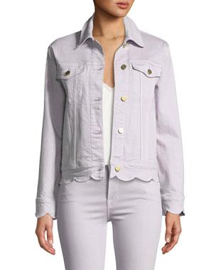 cf66ef09ca1e35 FRAME Scalloped-Edge Button-Front Denim Jacket