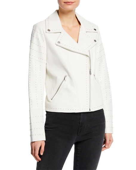 Neiman Marcus Leather Collection Zip-Front Studded Lamb Leather Moto Jacket