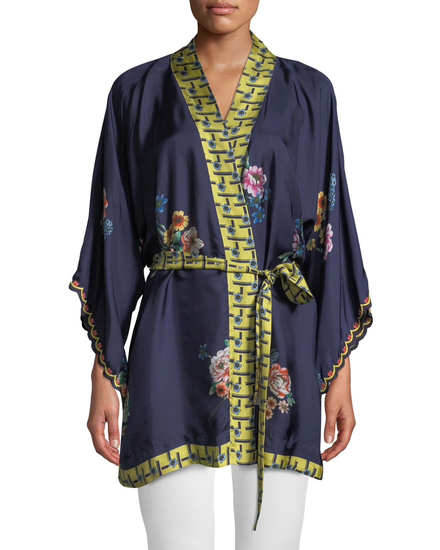 a694fd5fad8 Johnny Was Plus Size Zuki Printed Silk Twill Kimono Jacket w  Sash ...