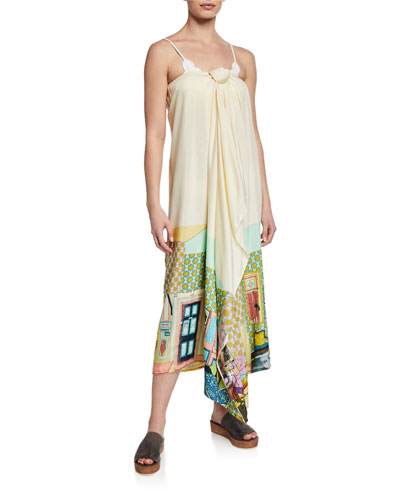 Printed Tie-Front Coverup Maxi Skirt