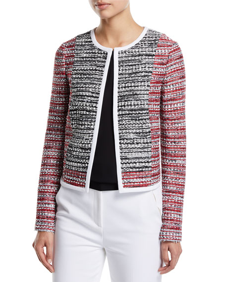 St. John Collection Amelia Knit Tweed Jacket with Contrast Binding
