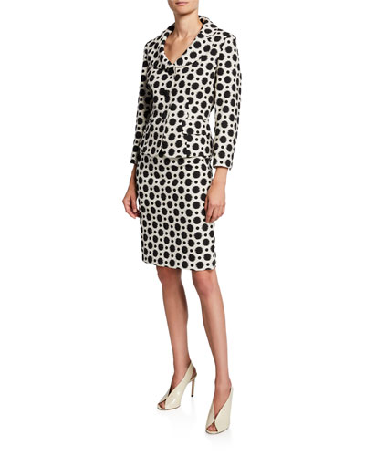 Polka-Dot Two-Piece Jacket & Skirt Suit Set
