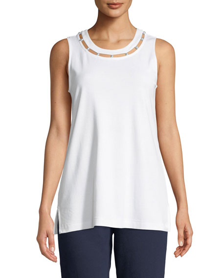 Joan Vass Plus Size Scoop-Neck Cotton Interlock Tank with Pearly Inset