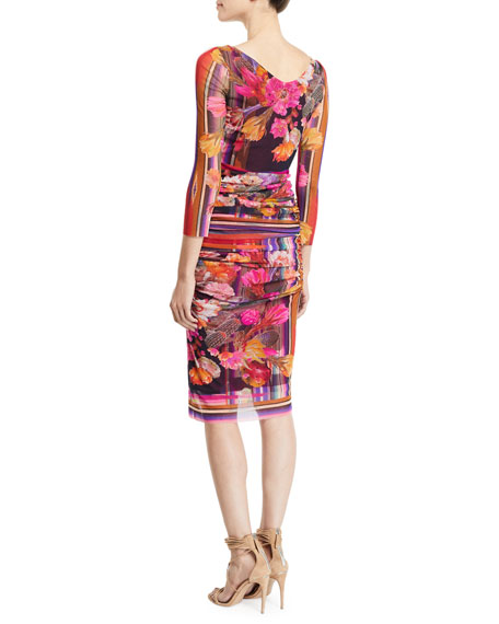 Fuzzi Cactus 3/4-Sleeve V-Neck Fitted Floral-Print Dress
