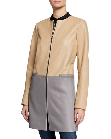 Neiman Marcus Leather Collection Colorblock Leather Zip-Front Topper
