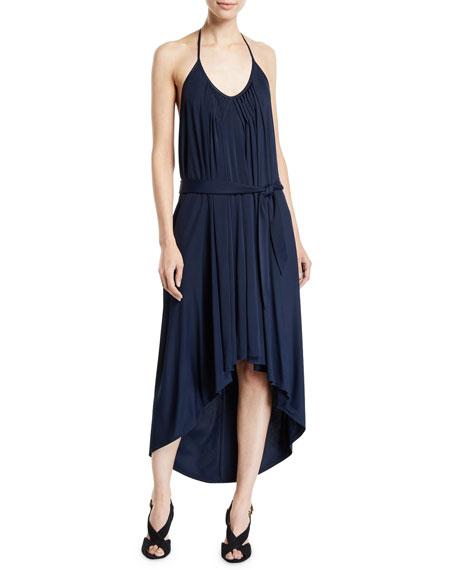 Fuzzi High-Low Halter Jersey Dress w/ Belt