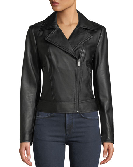 Neiman Marcus Leather Collection Asymmetric Zip-Front Long-Sleeve Lamb Leather Moto Jacket
