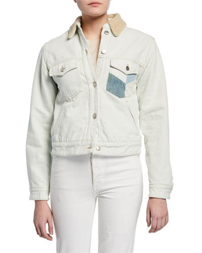 Lindy Patched Denim Jacket with Sherpa Collar