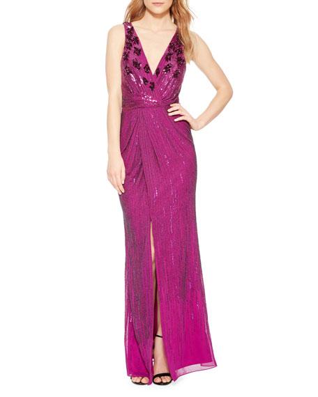 Parker Black Monarch Draped-Sleeve Off-the-Shoulder Velvet Gown