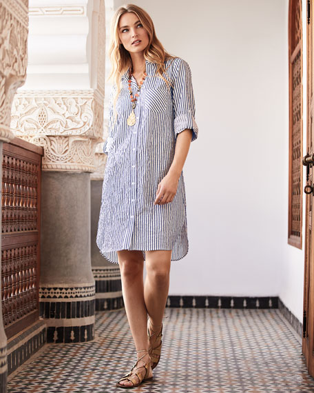 Finley Petite Alex Spectator-Stripe Button-Front Long-Sleeve Shirtdress