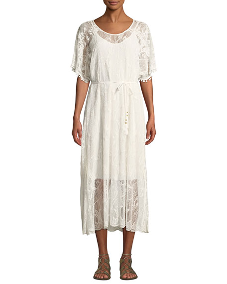 Johnny Was Scoop-Neck Short-Sleeve Sheer Lace Midi Dress