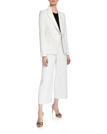 Veronica Beard Micah Cropped Button-Fly Culottes