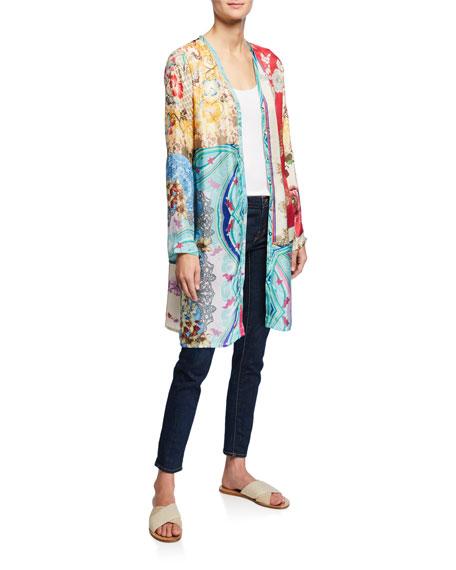 Isabel Long Multi-Print Silk Cardigan