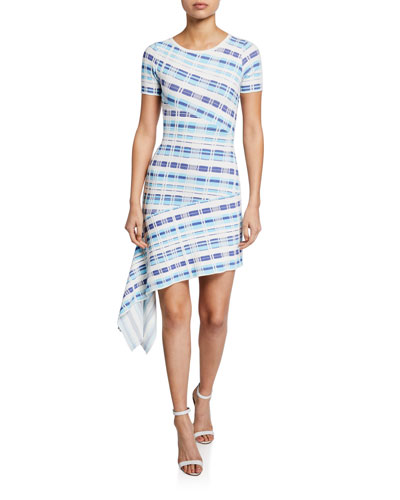 Plaid Directional Draped Short-Sleeve Asymmetric Dress