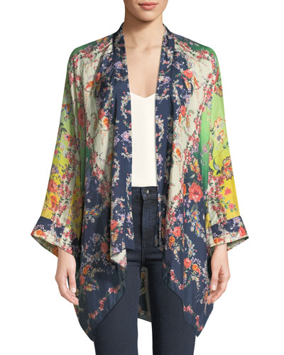 Dolce Long-Sleeve Floral-Print Georgette Kimono