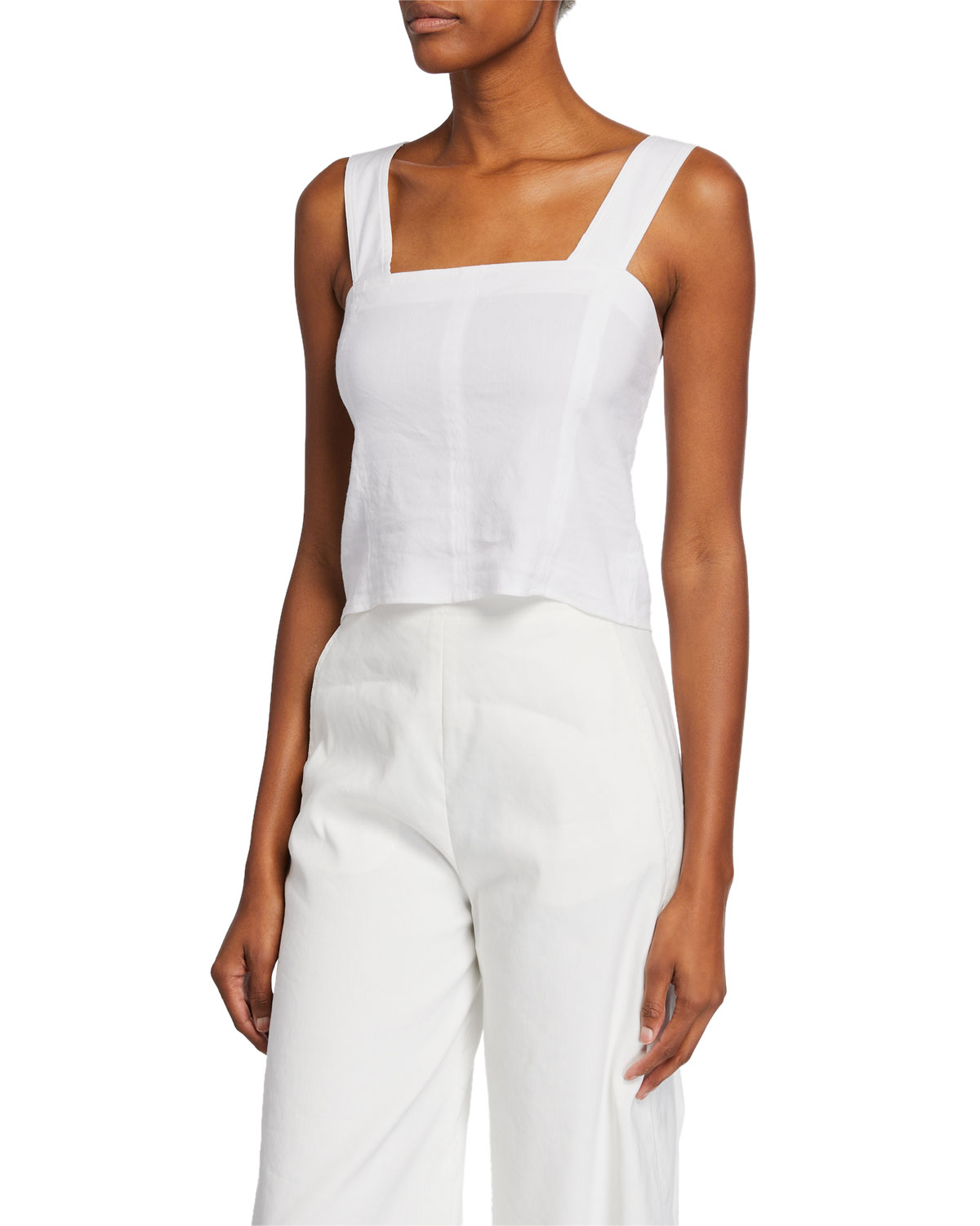 Vince Womens Cropped Wide Strap Shell Top