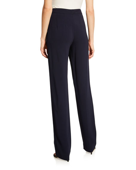 St. John Collection Diana Stretch Cady Straight-Leg Pants