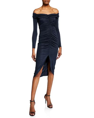 Megan Off-the-Shoulder Long-Sleeve Shirred High-Low Dress