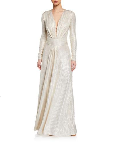 Pleated Metallic Long-Sleeve Coverup Dress