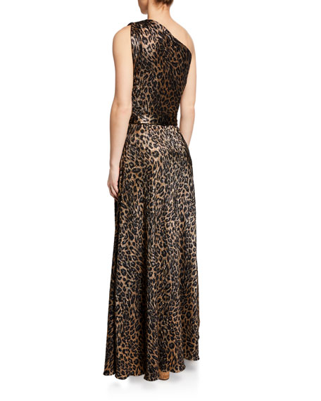Melissa Odabash Leopard-Print Metallic One-Shoulder Maxi Dress