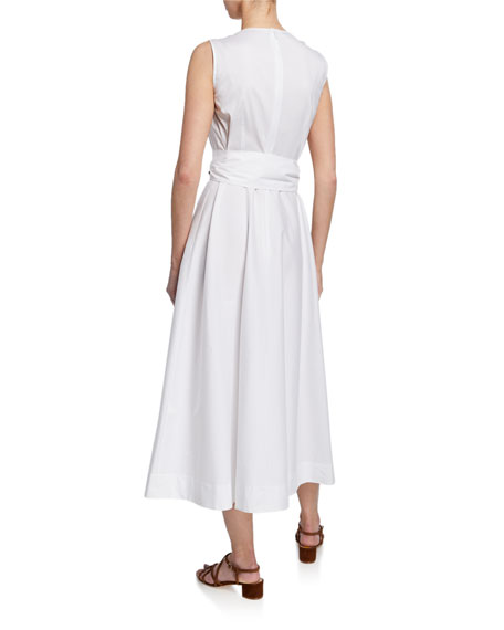 Image 3 of 3: Lafayette 148 New York Janelle Sleeveless Belted Stretch-Cotton Midi Dress