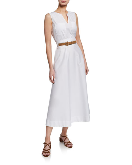 Lafayette 148 New York Janelle Sleeveless Belted Stretch-Cotton Midi Dress