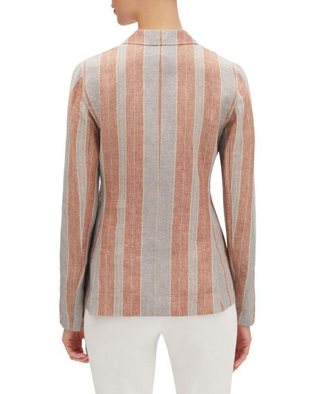 Lafayette 148 New York Vangie Lombardy-Stripe Two-Button Linen Jacket