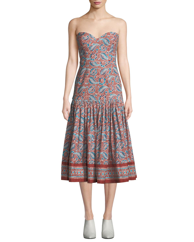 fde8c67ed Veronica Beard Fiore Printed Sweetheart Midi Dress   Neiman Marcus