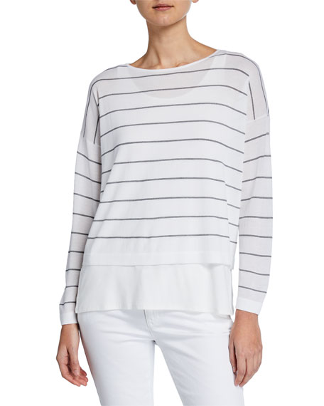 Eileen Fisher Striped Layered Long-Sleeve Sweater