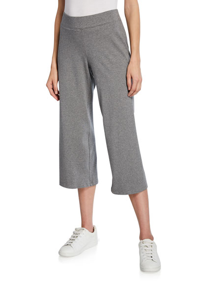 Eileen Fisher Heathered Stretch-Cotton Jersey Wide-Leg Crop Pants