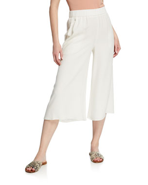 a787567e1c Eileen Fisher Wide-Leg Cropped Silk Crepe Pull-On Pants