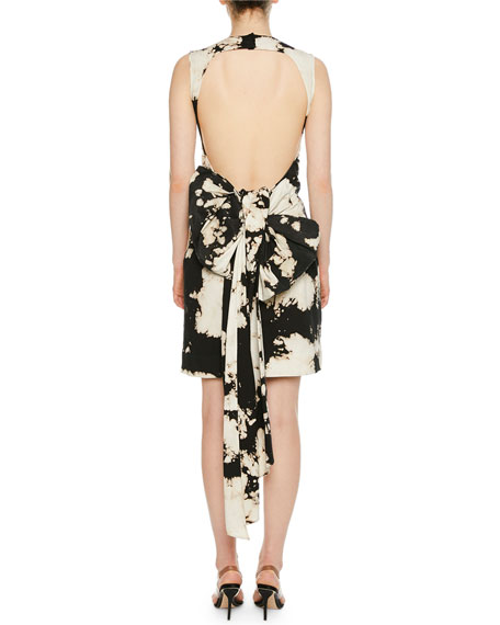 No. 21 Patterned Bow-Tie Open-Back Cocktail  Dress