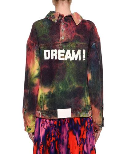 Oversized Tie-Dye Denim Jacket