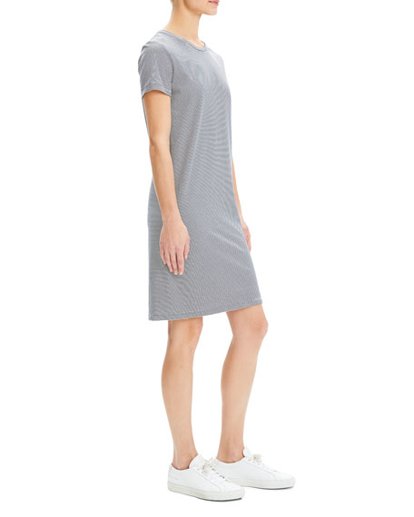 Theory Continuous Stripe Crewneck Short-Sleeve Knit Dress