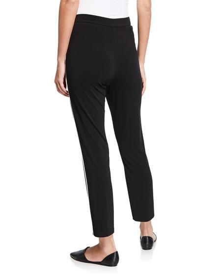 St. John Collection Matte Jersey Capri Pants w/ Contrast Knit Side