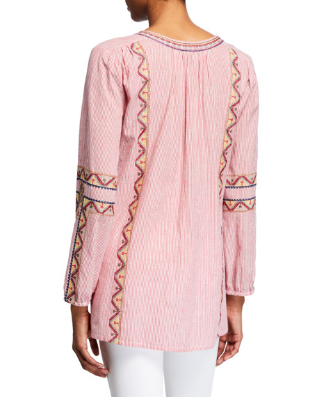 Tolani Plus Size Lauren Striped Embroidered Long-Sleeve Tunic