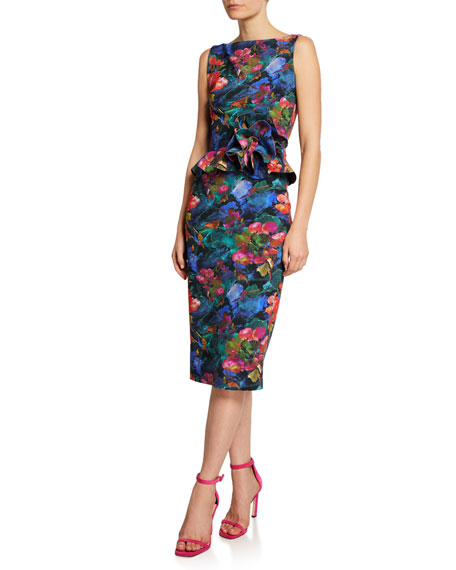 Chiara Boni La Petite Robe Abstract-Print High-Neck Sleeveless Peplum Dress