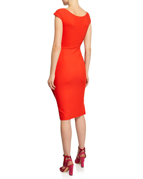 Chiara Boni La Petite Robe Zelly V-Neck Bonded Cap-Sleeve Shirred Dress
