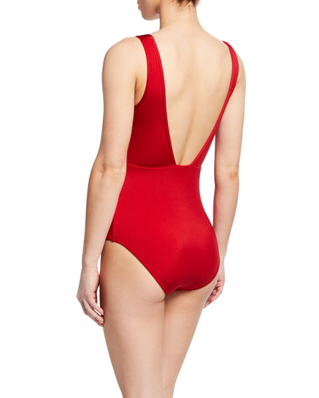 JETS by Jessika Allen Mirage Plunging V-Neck One-Piece Swimsuit