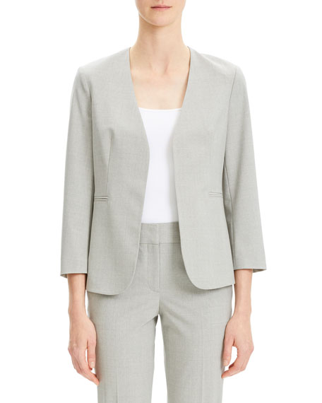Theory Lindrayia Open-Front 3/4-Sleeve Good Wool Suiting Jacket