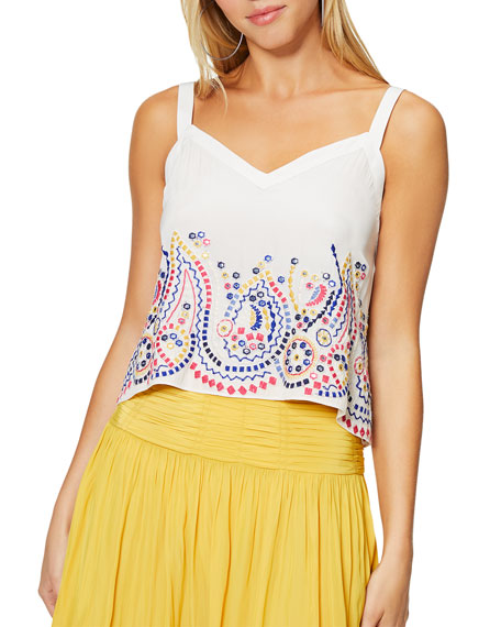 Image 1 of 3: Margo V-Neck Cropped Tank with Embroidery