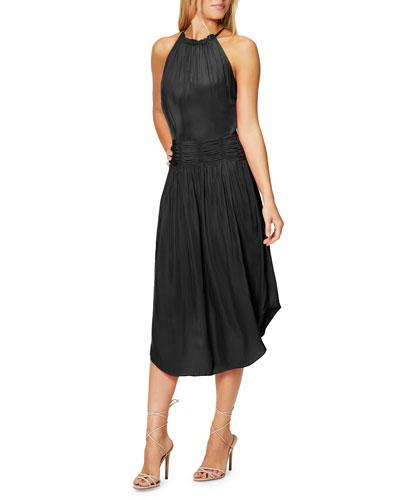 Marti Shirred High-Neck Cocktail Dress