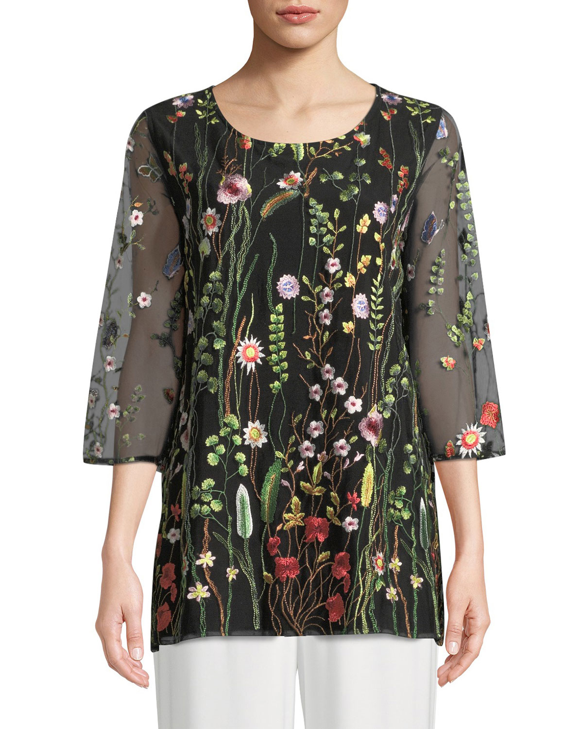 Texas Tech Classic Elegance Ladies Ring: Caroline Rose Petite Garden Walk Embroidered Layered Tunic