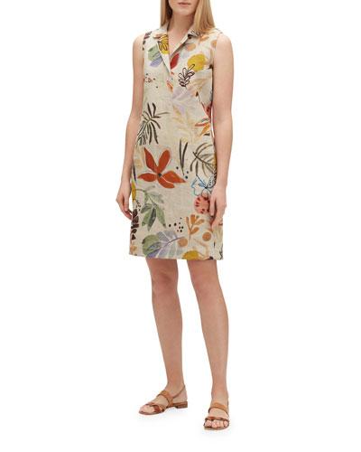 Rudy Fiore-Print Linen Dress
