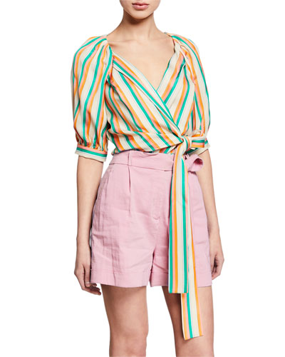 Rosanna Striped Tie-Front Blouse