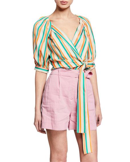 PINKO Rosanna Striped Tie-Front Blouse