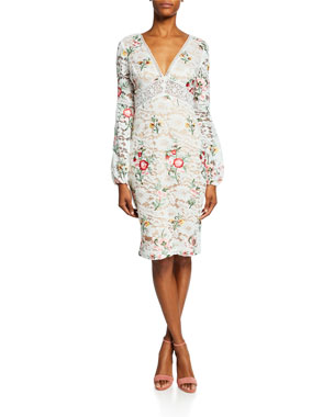 80cd525d695 Badgley Mischka Collection Floral-Print Long-Sleeve Boho Lace Cocktail Dress